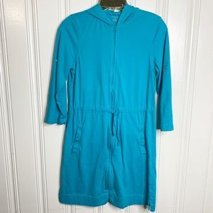 Lands'End  Blue Zip Dress Tunic Top Cover up Sz XS